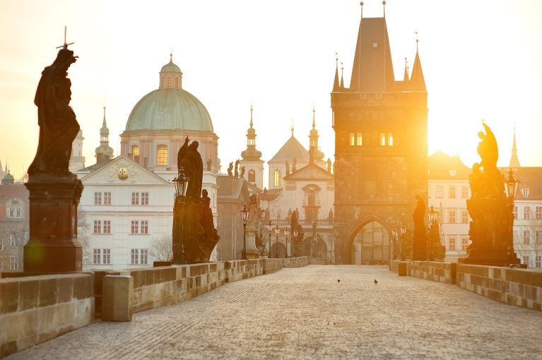 Charles Bridge in Prague at sunset