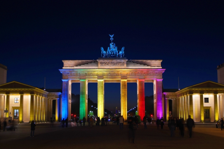 Multicolored lights on the Brandenburg Gate