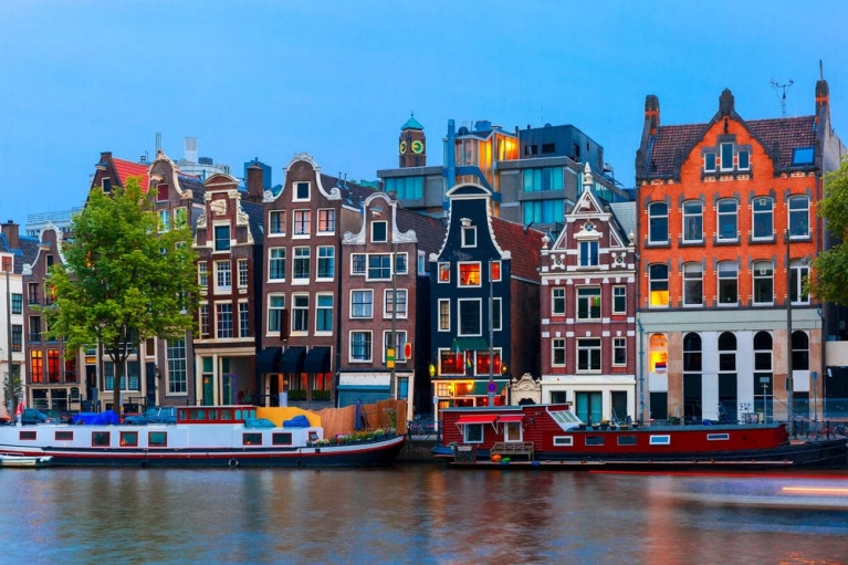 Canal and buildings in Amsterdam, the Netherlands