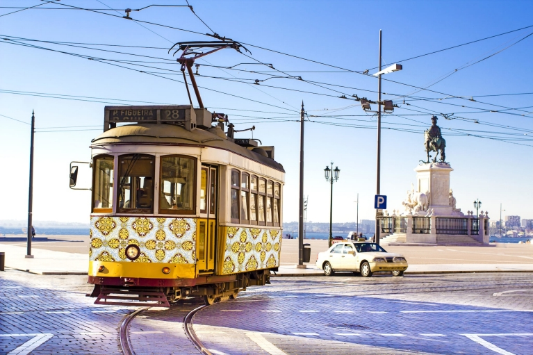A classic yellow tram in Lisbon