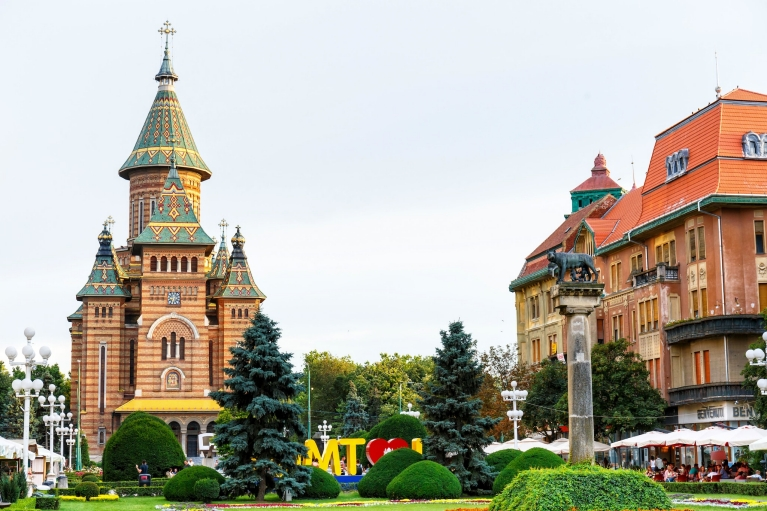 View on Timișoara and the Orthodox Cathedral