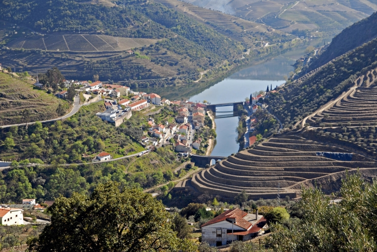 View of Pinhão and the vineyards of the Douro Valley