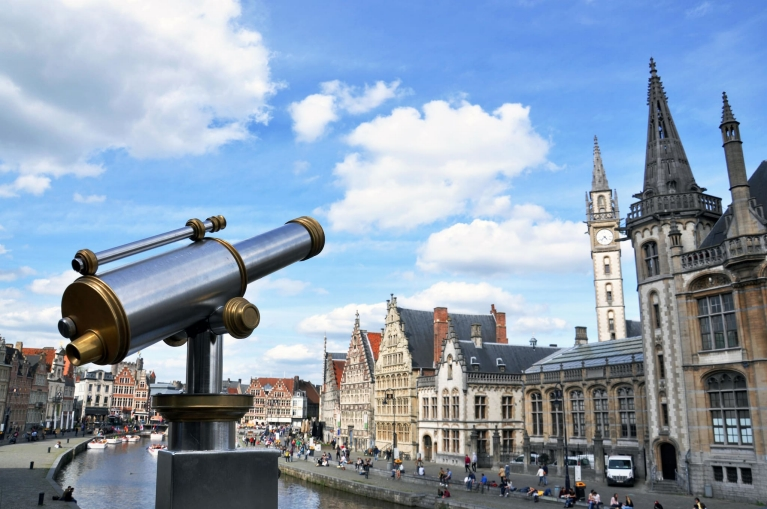 View of the Graslei in Ghent