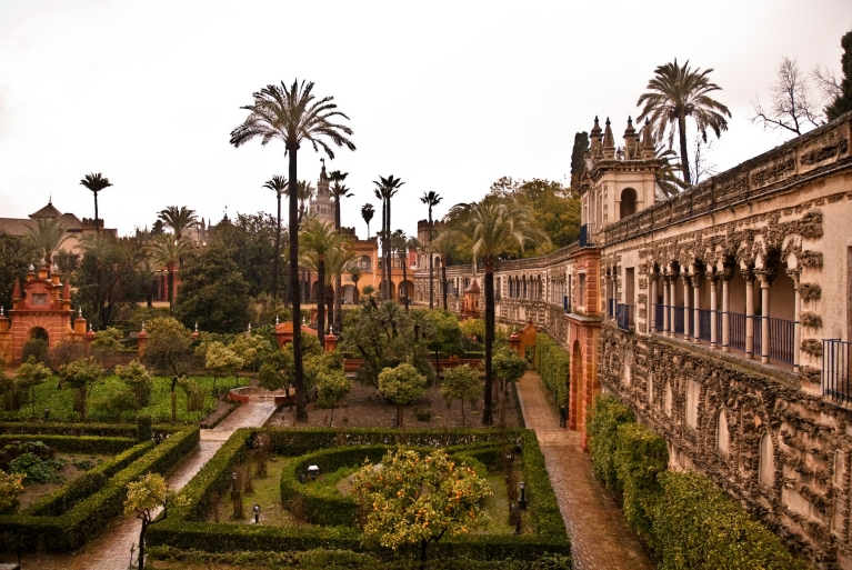 View of the Alcázar gardens