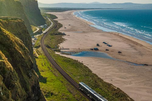 Irish train on the coast