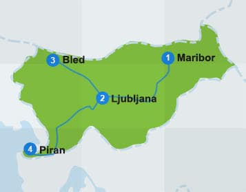 Map Slovenia itinerary