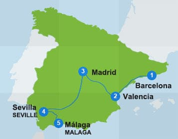 Map Spain itinerary