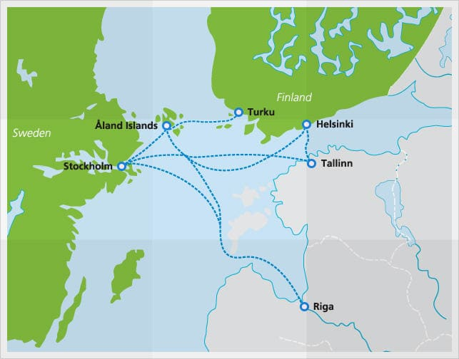 Map with Tallink Silja ferry routes