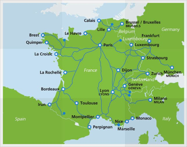 mapa tgv portugal TGV high speed train | Fast Speed Trains France | Eurail.com mapa tgv portugal