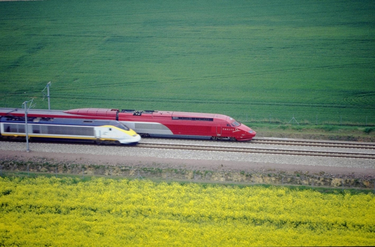 Thalys high-speed train crossings fields in France