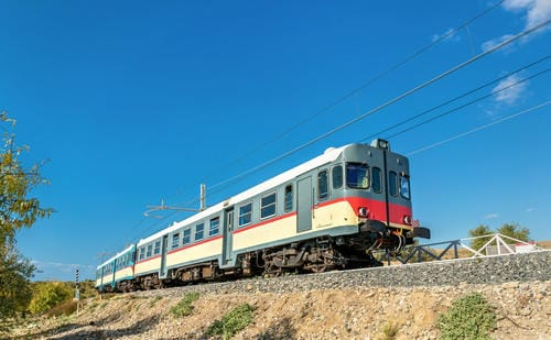 Trains in Italy | Local train at the valley of the Temples, Agrigento, Southern Sicily, Italy