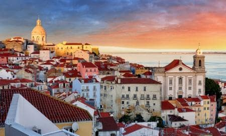 View of the old Alfama district at sunrise