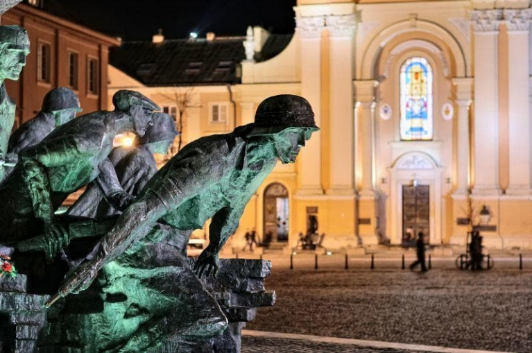 Warsaw Uprising monument by night