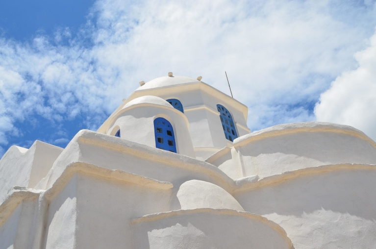 Whitewashed and blue building on Sifnos