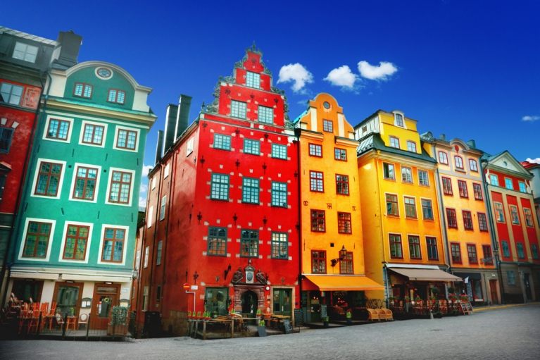 Colorful buildings in Stockholm