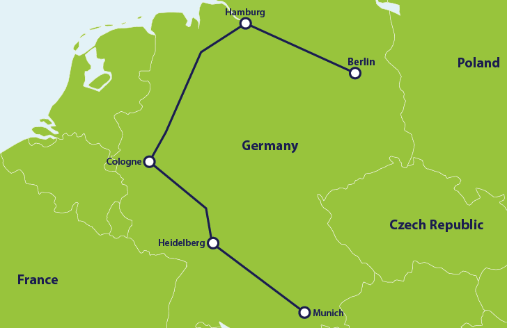ER 1 week Germany itinerary map