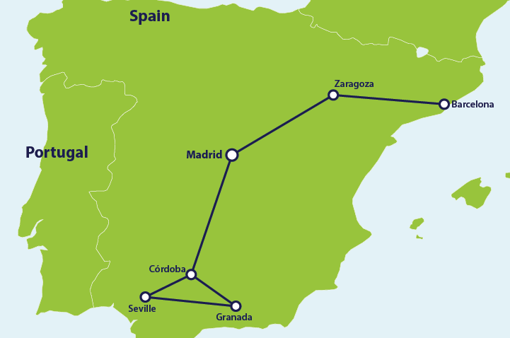 ER 1 week Spain itinerary map