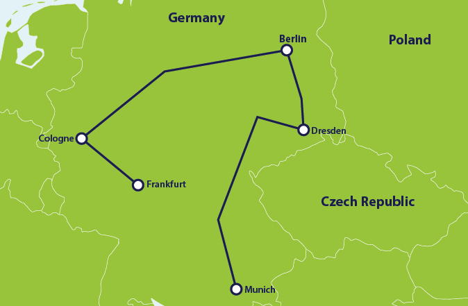ER Germany itinerary map