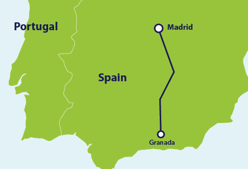Map with train route Madrid to Granada