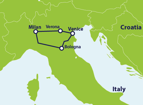 Milan Map Of Italy.How To Get From Venice To Milan By Train Eurail Com