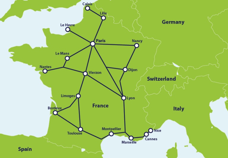 Map with popular train routes in France