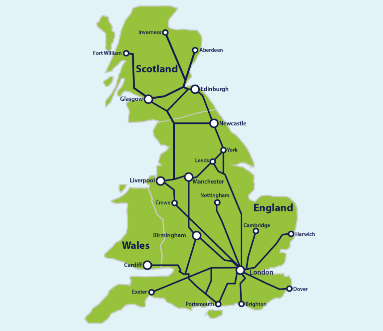Map Of Just England.Great Britain Eurail Com