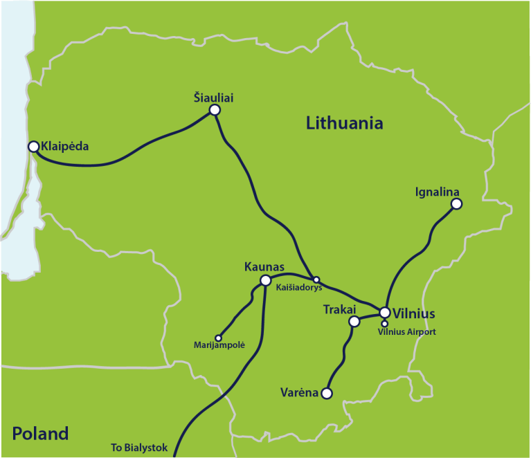 Map of major train routes in Lithuania
