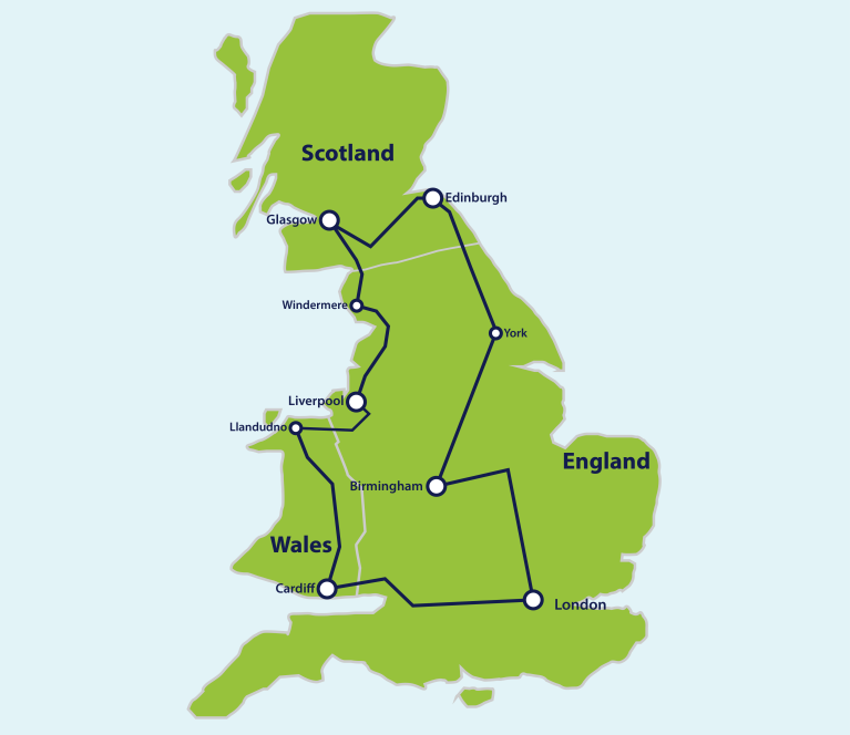 Map Of England Wales Scotland.The Ultimate Great Britain Rail Itinerary